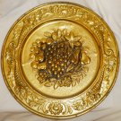 """VINTAGE EMBOSSED TIN COPPER WALL HANGING PLATE MADE IN ENGLAND FRUITS GRAPES 14"""""""