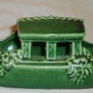 VINTAGE McCOY POTTERY GREEN BOAT GONDOLA PLANTER ASIAN