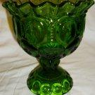 VINTAGE L.E. SMITH MOON & STAR GREEN GLASS CRIMPED RIM PEDESTAL COMPOTE BOWL