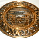 VINTAGE COPPERCRAFT GUILD TAUNTON MA EMBOSSED COPPER PLATE OAK HEARTH FIREPLACE
