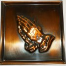 VINTAGE COPPERCRAFT GUILD EMBOSSED COPPER SQUARE WALL PLAQUE PRAYING HANDS