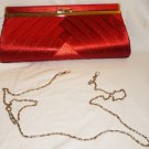 GORGEOUS NEW RED SATIN CLUTCH EVENING PURSE LETTIE GOOCH BOUTIQUE FESTIVE