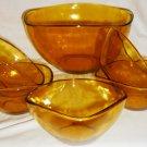 VINTAGE AMBER GLASS VERECO FRANCE BIG BOWL + 5 SMALL SALAD BERRY BOWL SET