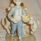 VINTAGE CHARMING PORCELAIN BOY WITH A DONKEY SELLING FRUITS FIGURINE