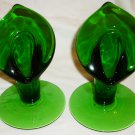 BEAUTIFUL CAMBRIDGE FOREST GREEN GLASS SET / 2 CANDLE HOLDERS JACK IN THE PULPIT