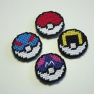 Plastic Canvas Set of Four Pokeballs Magnets