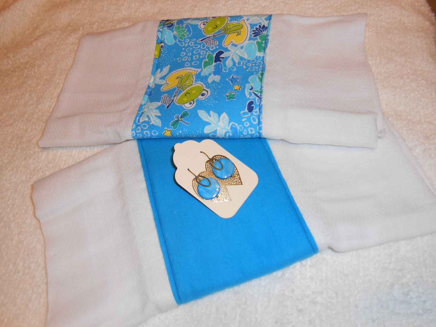 Ultimate Baby Shower Gift Set: 2 burp cloths and a pair of earrings- For Mommy to be and Baby