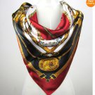 5 PCS Equestrian Outfit Print Big Square Silk-like Satin Scarf Wrap 90*90cm