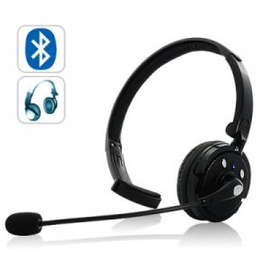 Over-the-head Bluetooth Headset with Boom Mic - 18 hours talk time, Dual-Phone Connection