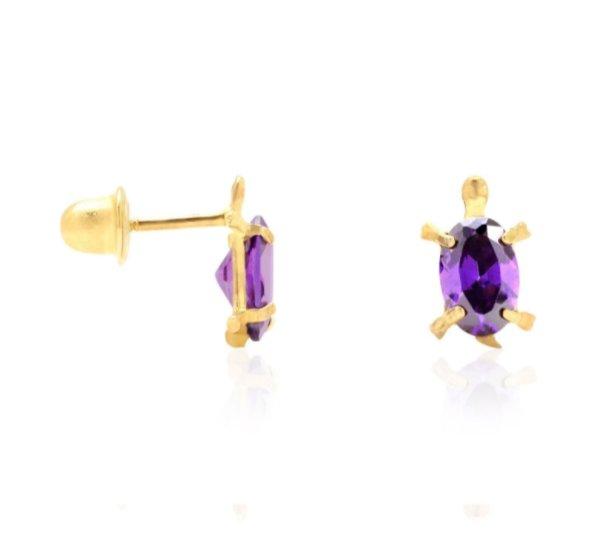 d49ac398e 14K Yellow Solid Gold Turtle Baby Screwback Kid Stud Earrings Oval Cut  Amethyst