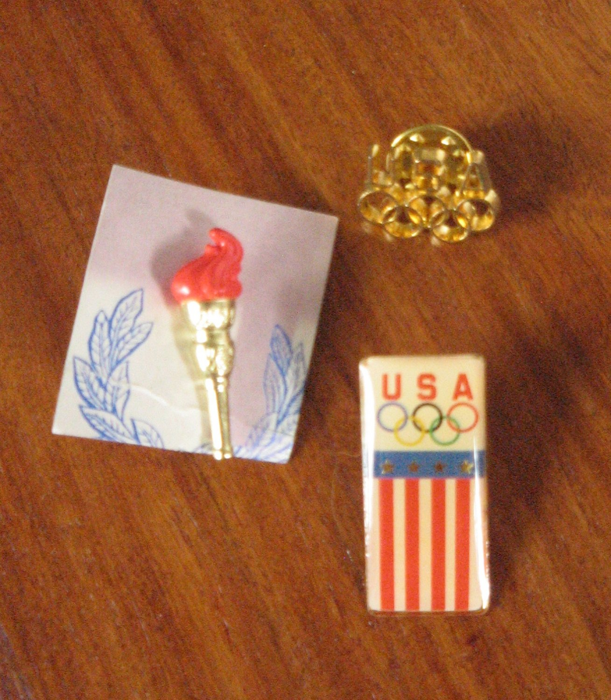 Three Vintage USA Olympics Rings Flag Pinback Pins Patriotic