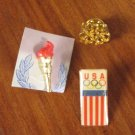 Three Vintage USA Olympics Rings Flag Pinback Pins Patriotic