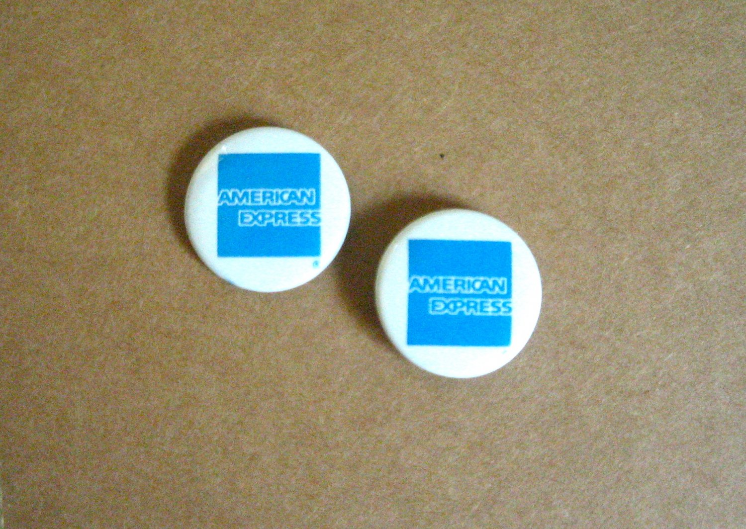 2 Vintage mini American Express Pins Pinbacks Buttons Collectible Advertising