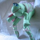 Vintage 80s Toy Satin Frog Shelf Doll Ballerina Soft Sculpture Ballet Dancer