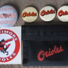 Baltimore Orioles Vintage Lot MLB Baseball Souvenirs Pins Decals Wallet Memorabilia Bonus Lot