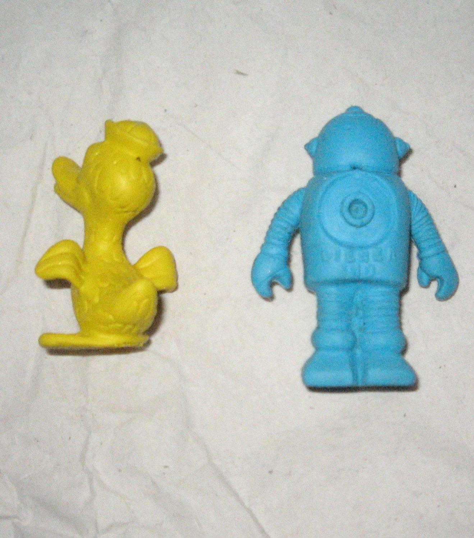 VINTAGE Diener Eraser 1970s Robot and Duck Lot of 2 Like New