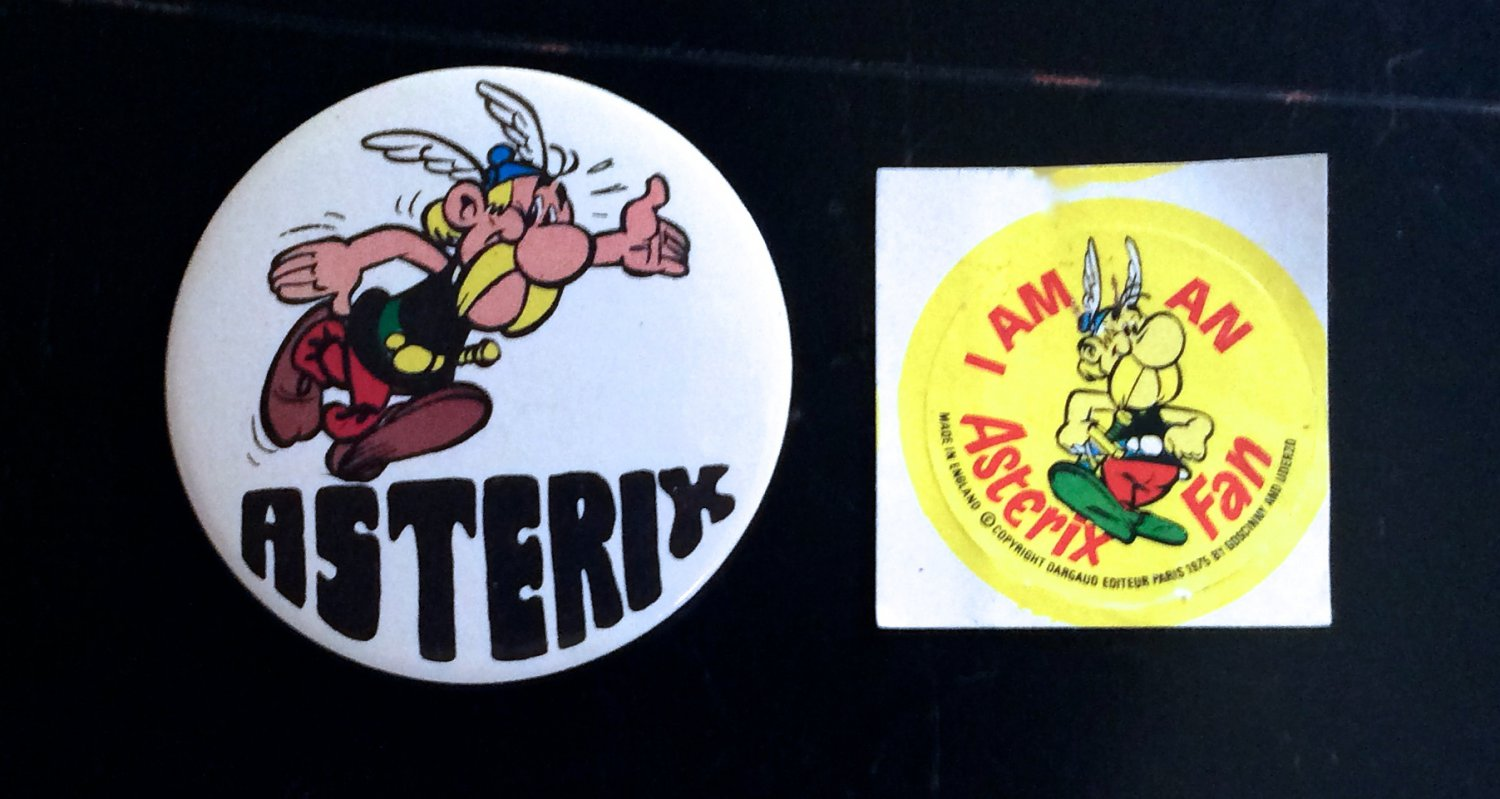 Vintage 80s Sticker and Button Asterix Gladiator Badge 1980s