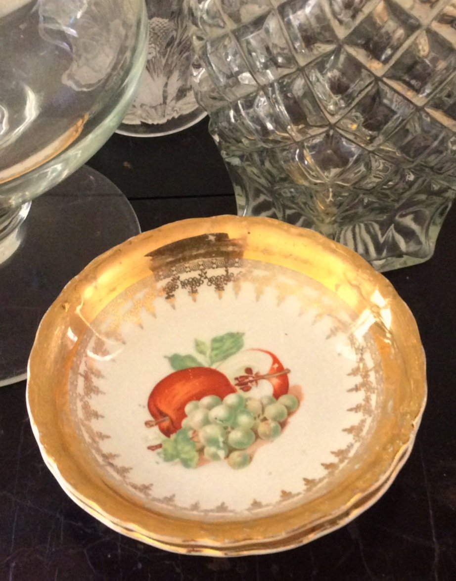 3 Vintage France Gilt Harvest Fruit Gold Leaf Trinket Plate Candy Dish Shabby