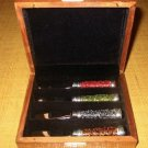 New Pottery Barn Serving Spreaders Set Glass Beads in Wood Lined Storage Box Housewarming Gift