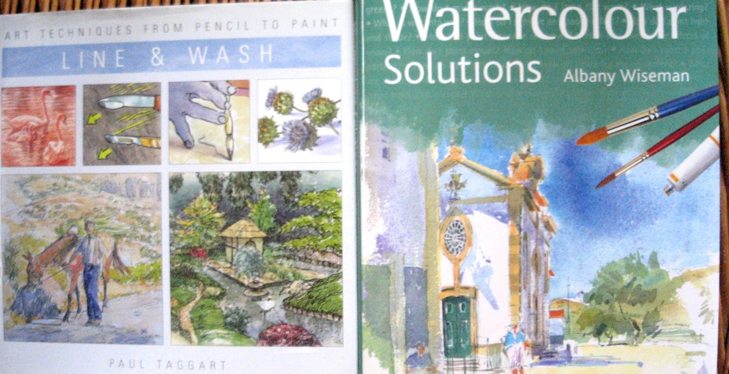 ART BOOKs Lot of Two: Watercolor Solutions AND Art Techniques for Line and Wash