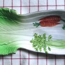 Mid Century Plate 1950s Celery Shape Serving Dish Spoon Rest