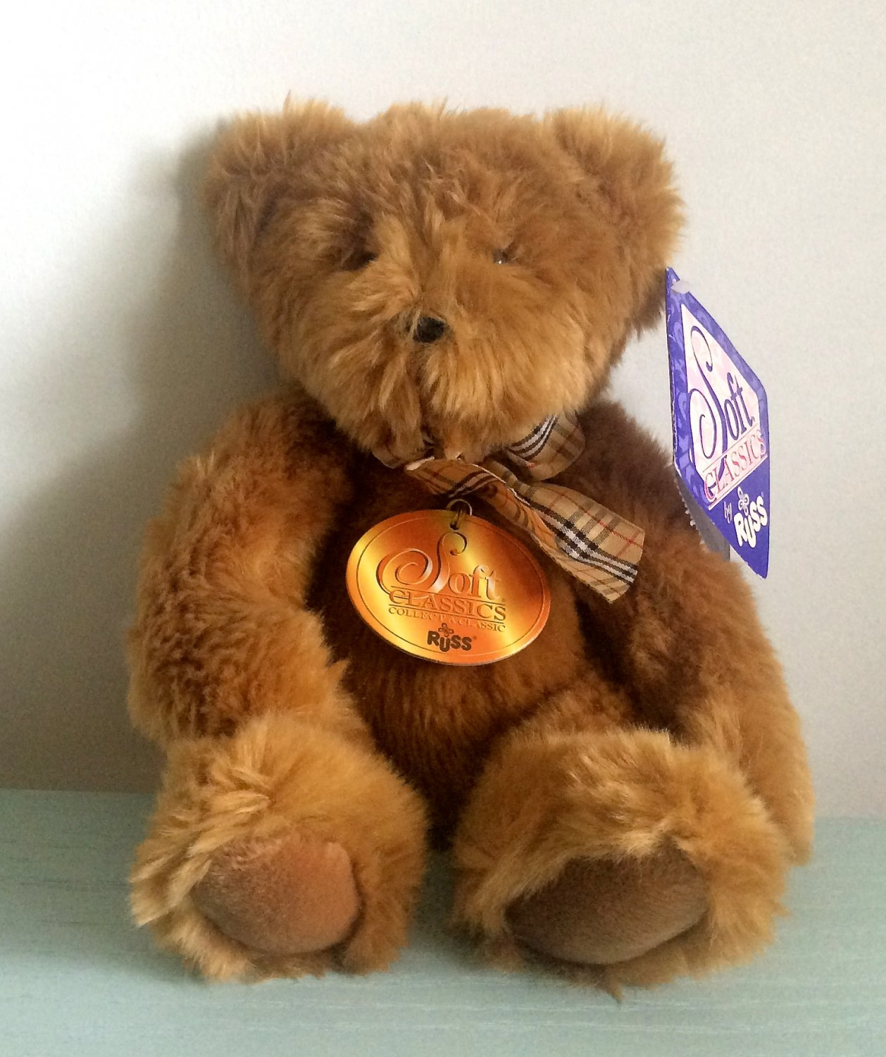 Russ Berrie Plush Teddy Bear 12 Inches Soft Classics by Russ Soft Toy Plaid Bow