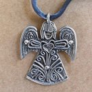 ANGEL Handcrafted Pewter Signed Charm Artisan Necklace or Ornament