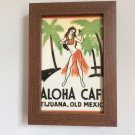 OOAK Hula Girl Framed Vintage Art Repro ALOHA CAFE Print