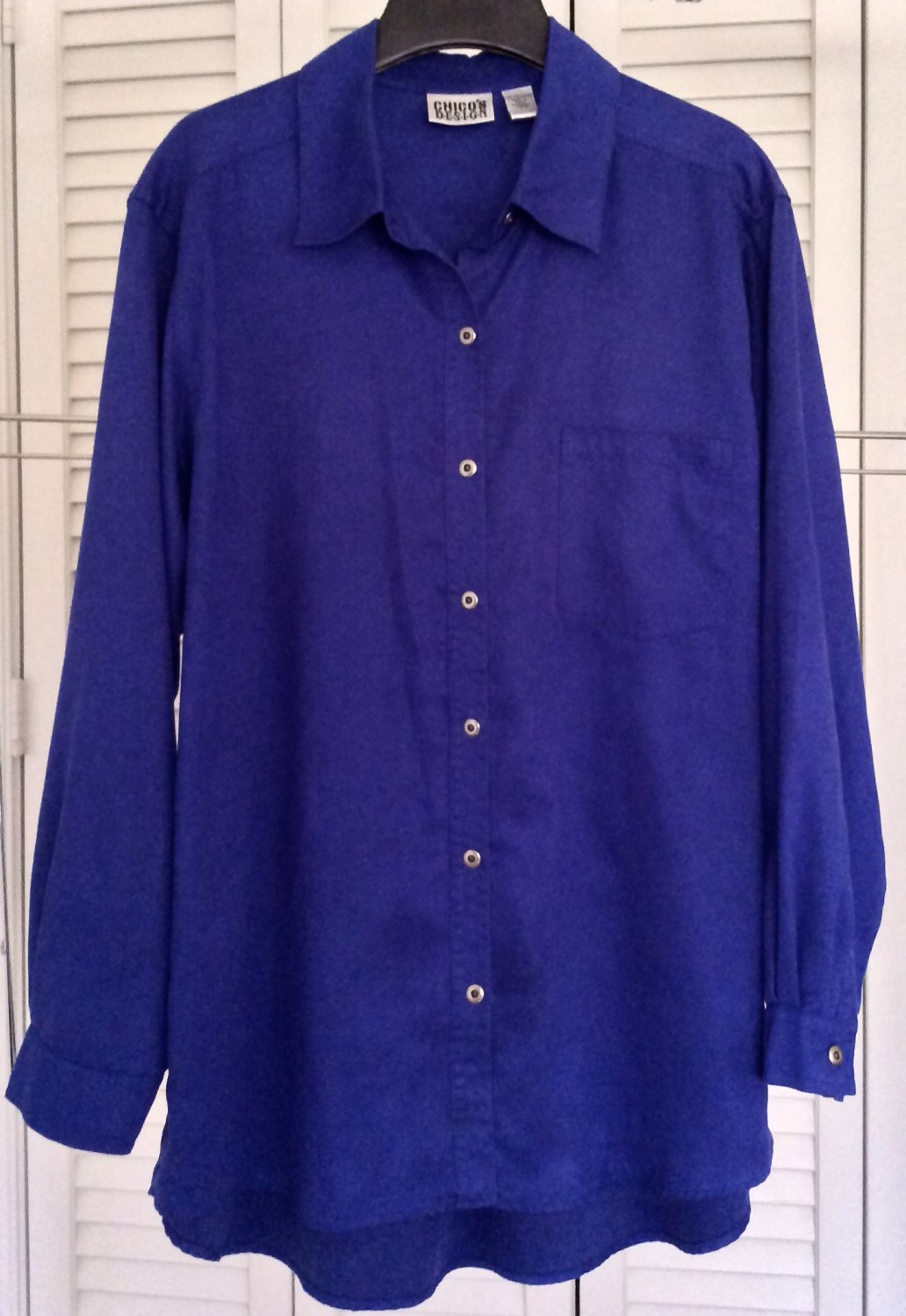 Chicos Ultrasuede Blouse Royal Blue Long Fit Top