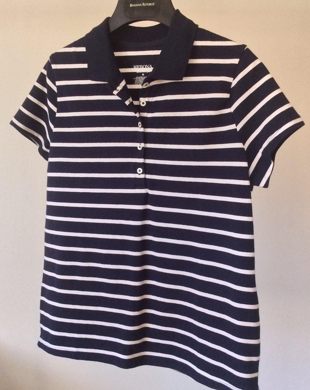 NEW Navy and White Polo Top Merona Golf Tennis Club Collar Shirt Nice Quality Fabric