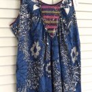 NEW FREE PEOPLE Top Smocked Contrast Boho Sleeveless Spaghetti Straps Swing Tank