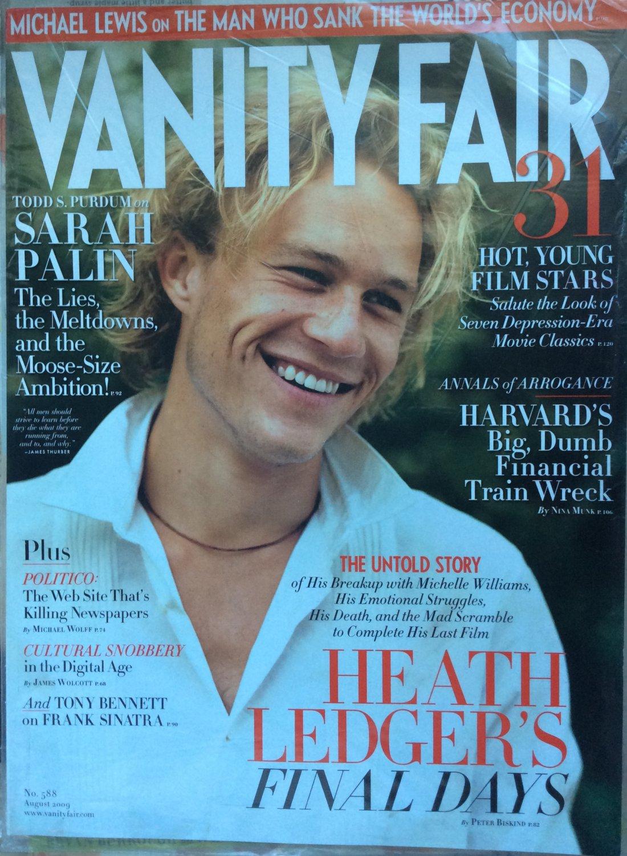 Vanity Fair Magazine August 2009 Heath Ledger Cover