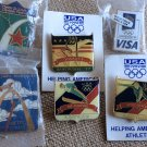 Lot 6 Vintage USA Olympic Team Events Lapel Hat Trading Pins