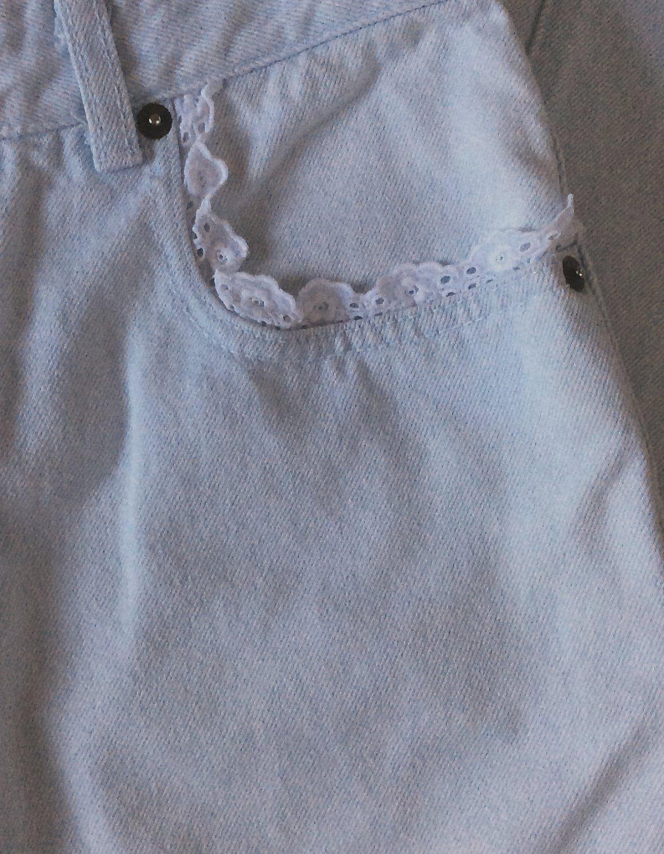VINTAGE Jeans High Waist 80s Eyelet Lined Light Wash Denim Normcore