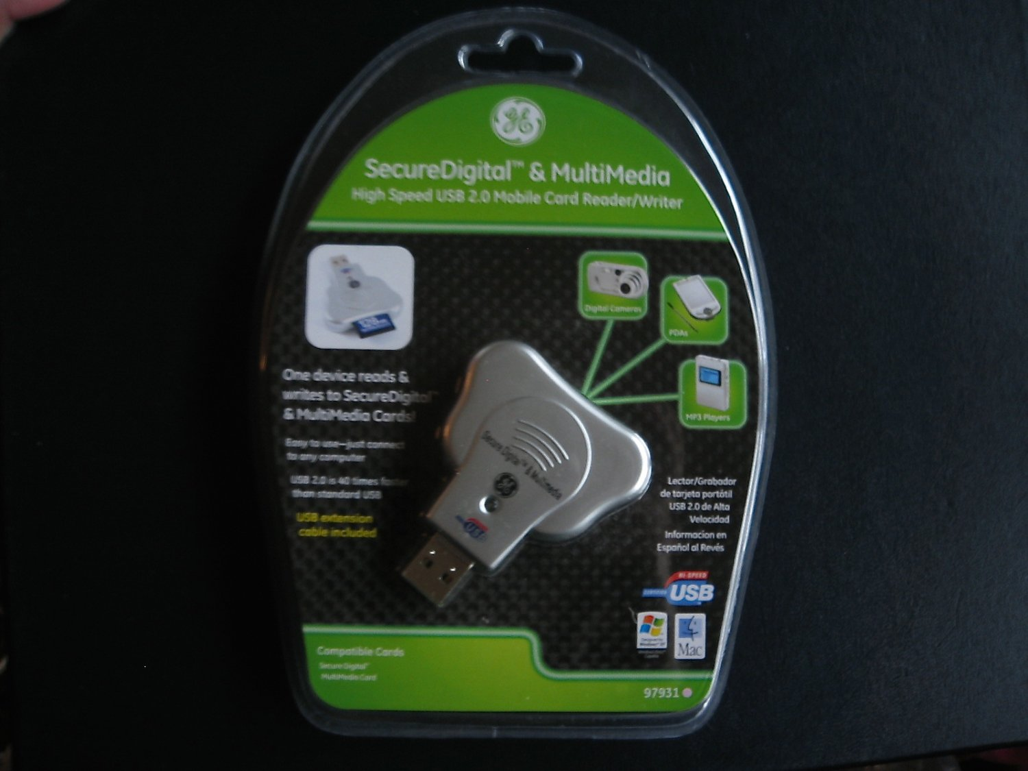GE Secure Digital and Multimedia High Speed Mobile 2.0 Card Reader Writer