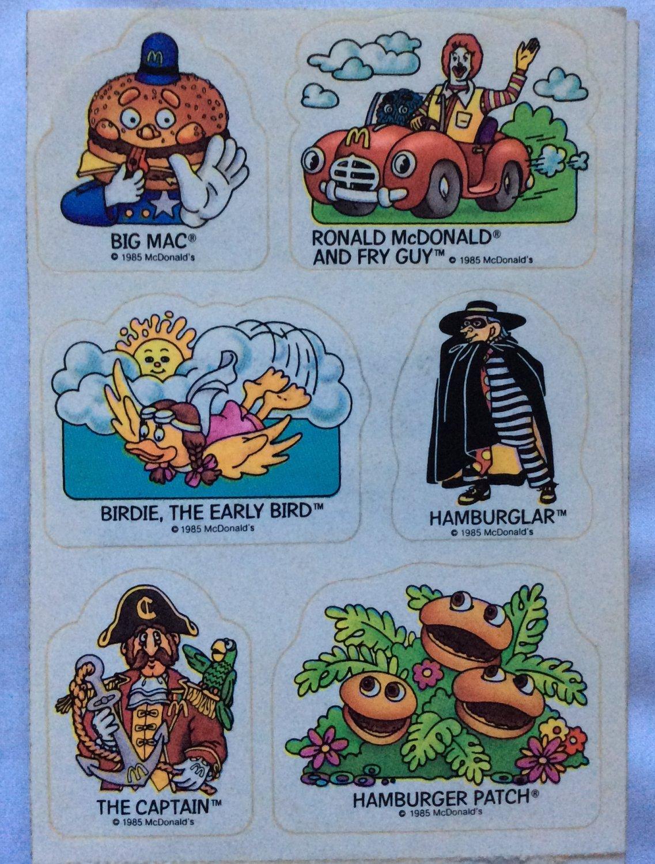 Vintage Stickers McDonalds 2 Sheets 1985