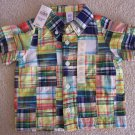 NEW BABY GAP Button Down Shirt Madras Plaid Infant Boy Baby Polo Collar Top