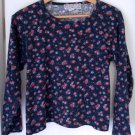 Authentic VINTAGE 90s Top Long Sleeve Floral Crew Neck Crop Fit 1990s