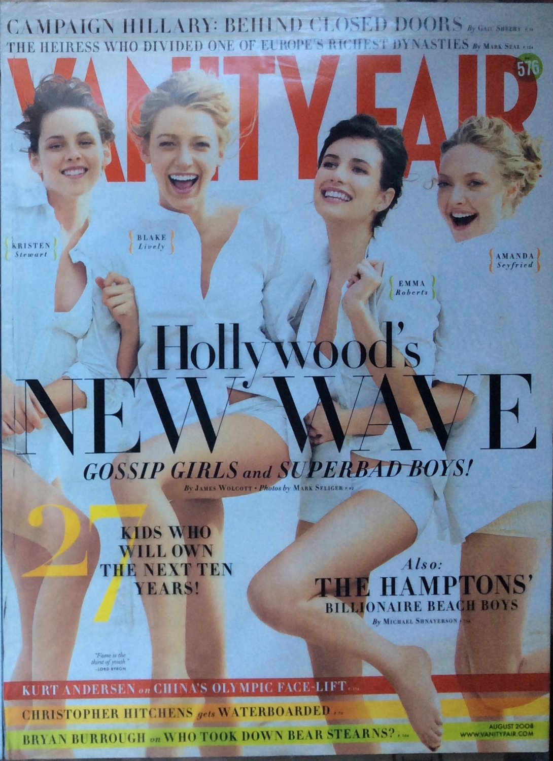 Vanity Fair Magazine August 2008 Hollywoods New Wave Blake Lively Kristen Stewart