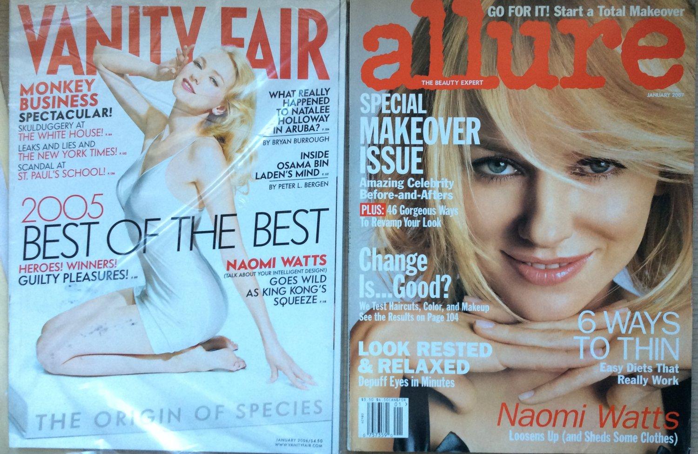 Lot 2 NAOMI WATTS Covers Back Issue VANITY FAIR Jan 2006 Catherine Deneuve ALLURE 2007