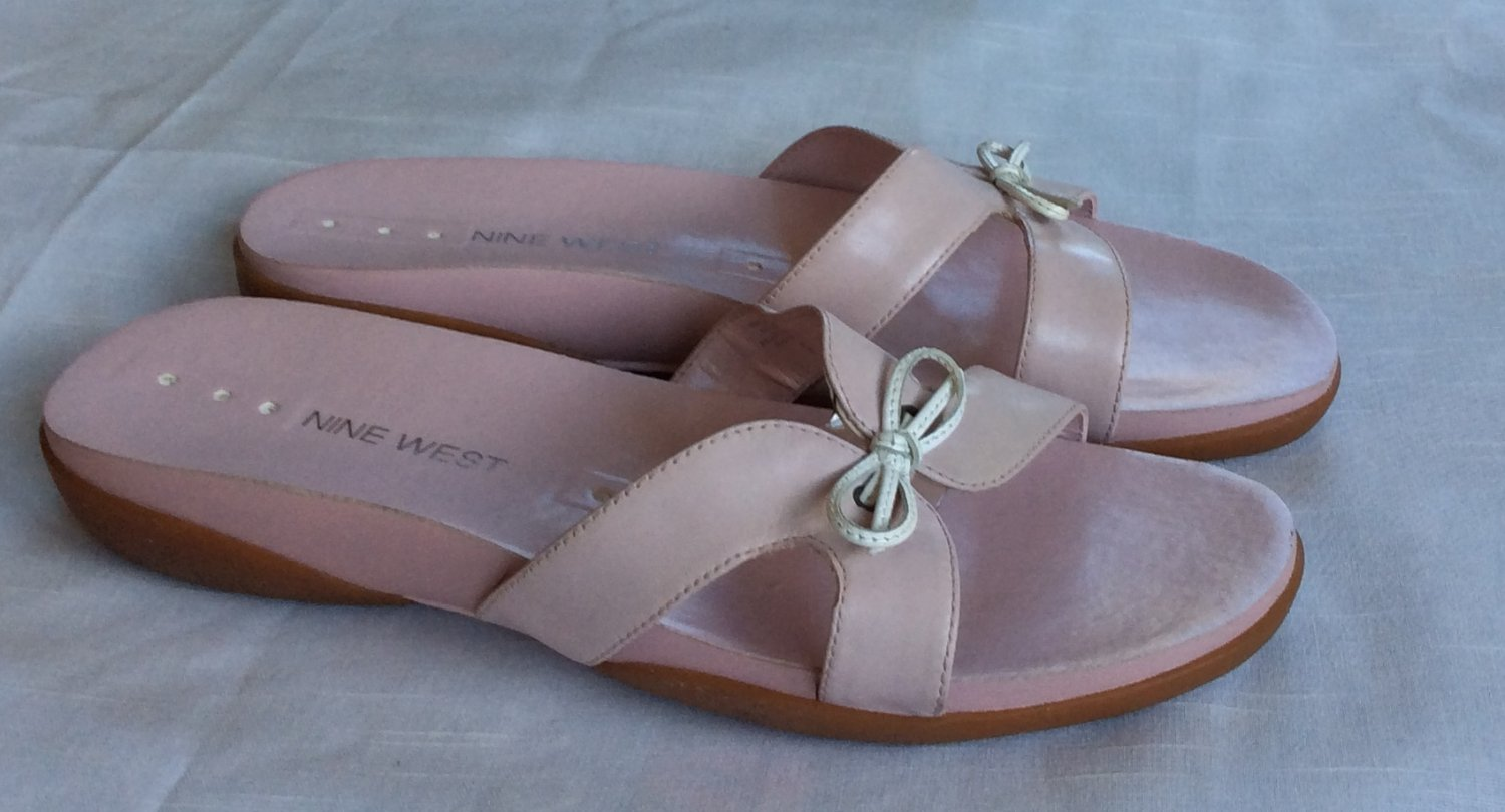 NEW Nine West Shoes Pink Leather Slides Sandals Comfort Padded Soles Leather Flip Flops Sexy Cute