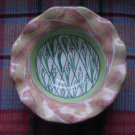 Mackenzie Childs Hand Made Bowl Bearded Iris Fluted Rim Fruit Dessert Sauce Candy Dish Collectible