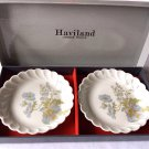 HAVILAND LIMOGES Butter Pat Bowls Small Plate Gift Set Original Box Made in France Hand Painted