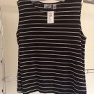 NWT Chicos Travelers Sleeveless Top Slinky City Tank Captain Stripe in Dark Brown Ecru Shell 3