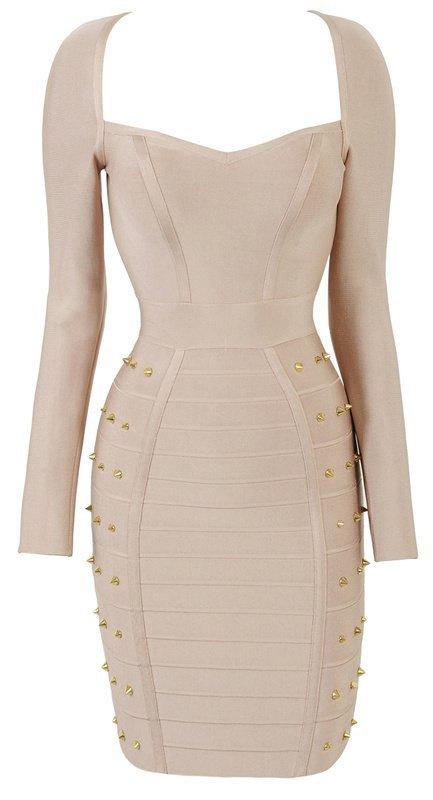 Cloverl  Celine Nude Long sleeve Studded Bandage Dress--BY DHL