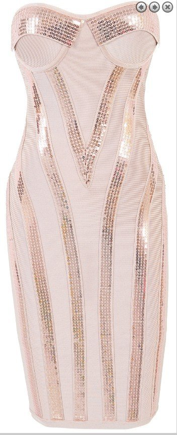 Cloverl  Michaela  Fade Pink Sequin Strapless Bandage Dress