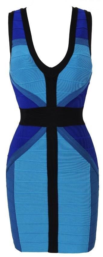 Cloverl  DREW BLUE COLOURBLOCK WAIST CINCHING BANDAGE DRESS
