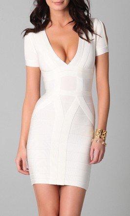 Cloverl Julie white  Deep V bandage Dress--free global shipping