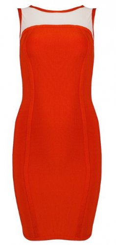 Cloverl Soren Orange bandage Dress--free global shipping