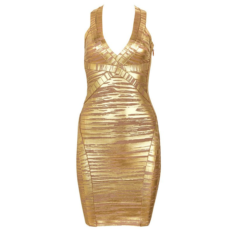 Cloverl Danielle Metallic Bandage Dress